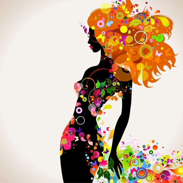 beauty background colorful natural elements modern silhouette design