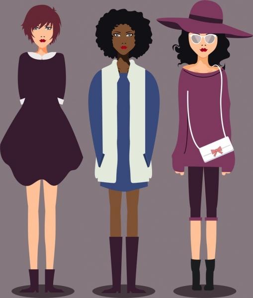 fashionable woman elegant @ 125 clothes colored cartoon