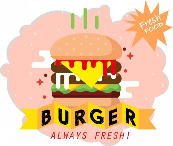 Fast Food Advertisement Burger Icon 3d Ribbon Decor Free Vector In