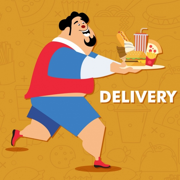 fast food advertisement fat man food icons