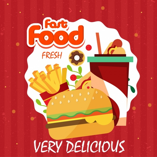 Fast Food Advertisement Hamburger Chips Drink Icons Free Vector In