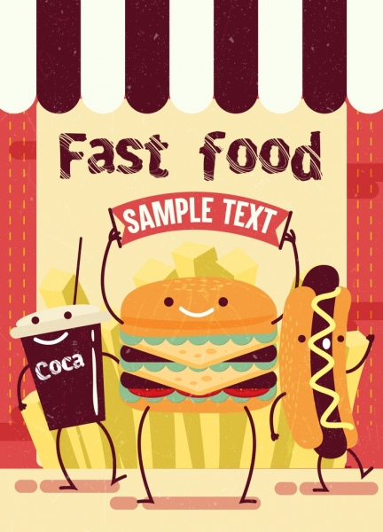 fast food advertisement hamburger hotdog icons stylized design