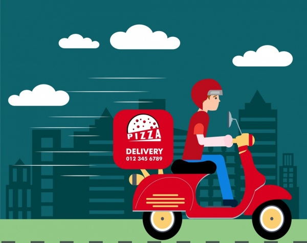 fast food advertisement man delivering pizza icon
