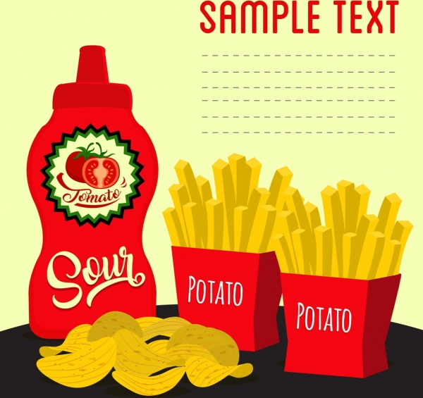 Fast Food Advertisement Potato Chip Tomato Sauce Icons Free Vector
