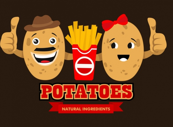 Fast Food Advertising Cute Stylized Potato Icons Free Vector In