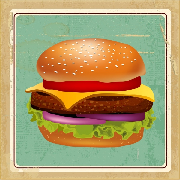 fast food background 3d colorful hamburger retro style