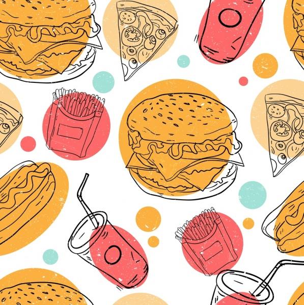 fast food background colored handdrawn design