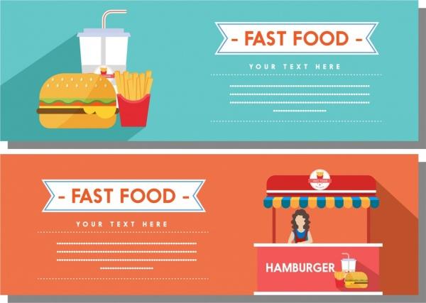 fast food banner sets colored food shop decoration