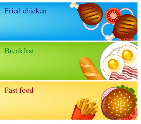 fast food banner sets colorful cuisines icons decoration
