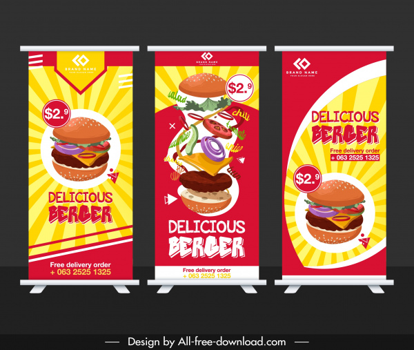 fast food banners colorful vertical roll up design