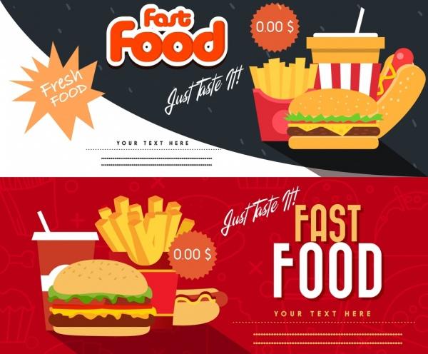 Fast Food Coupon Templates Horizontal Modern Design Free Vector 3 32mb