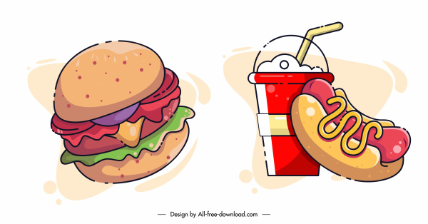 fast food design elements colorful classic handdrawn sketch