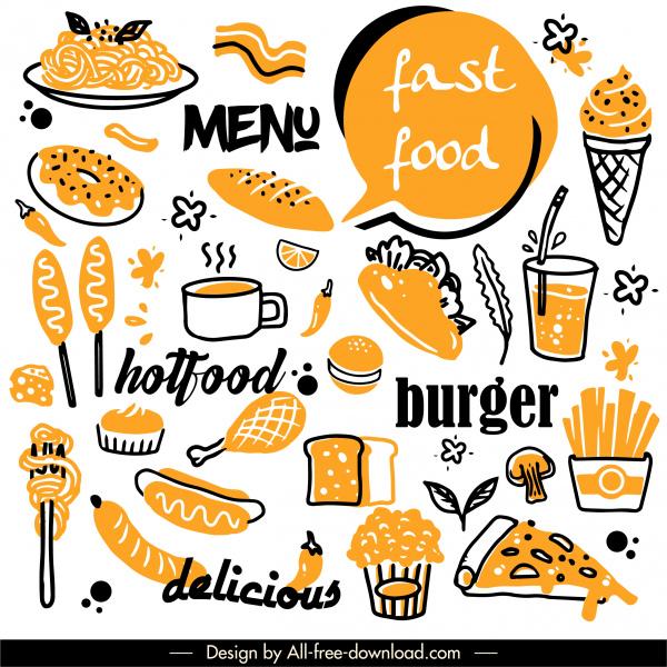 fast food design elements retro handdrawn sketch