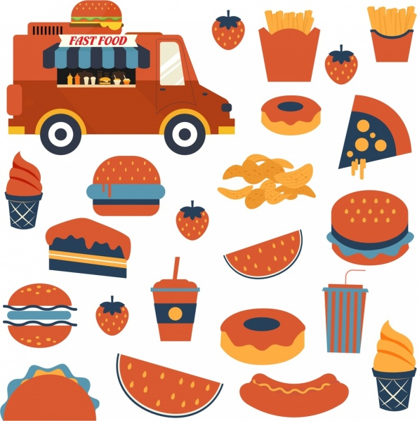 fast food design elements truck hamburger chips icons