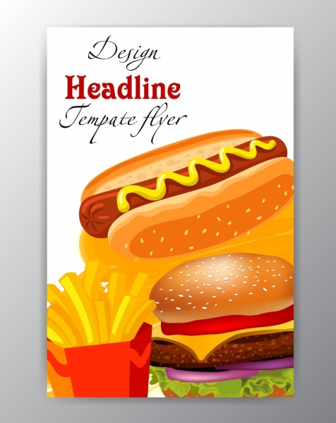 fast food flyer template shiny colored decor free vector in adobe