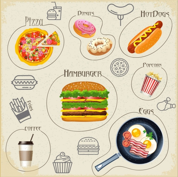 Fast Food Icons Collection Multicolored Symbols Isolation Free