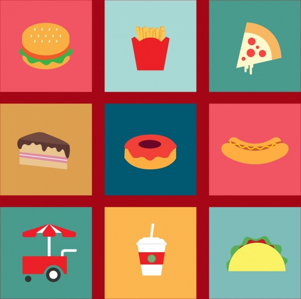 Fast Food Icons Design Elements Various Colorful Symbols Free Vector