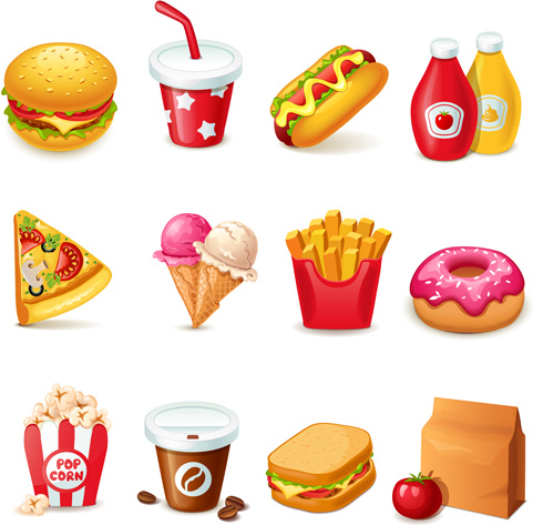 fast food icons set vector graphics