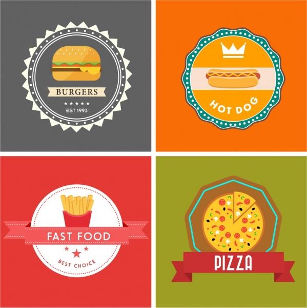 Fast food logo sets serrated circles ribbon ornament Free vector ...