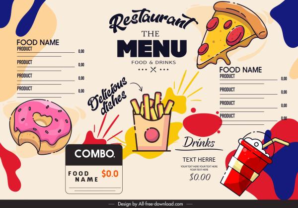 fast food menu template colorful classical design