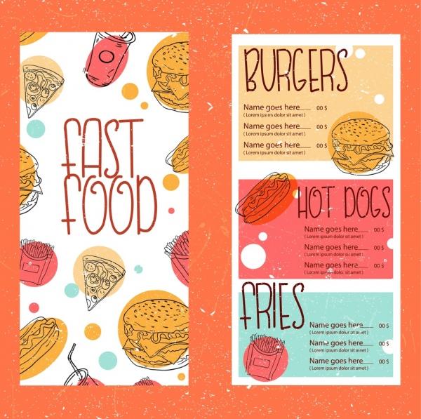 fast food menu template retro handdrawn design