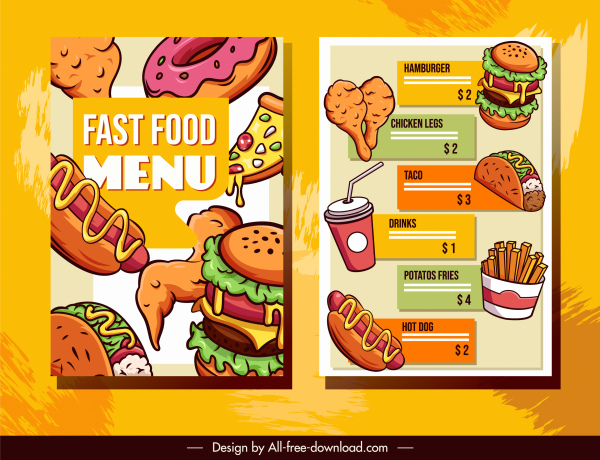 fast food menu templates colorful classical sketch