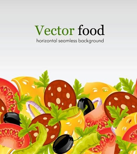 salad background colorful tomato olive bacon chilli sketch