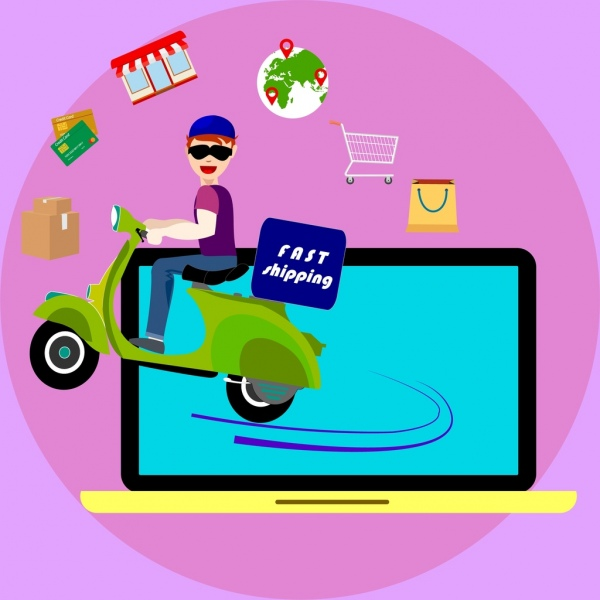 fast shipping banner boy riding motorbike computer icon