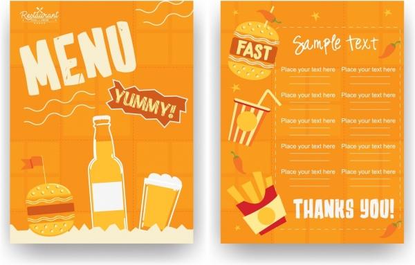 fastfood restaurant menu template classical orange design