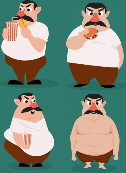 fat man icons funny cartoon character