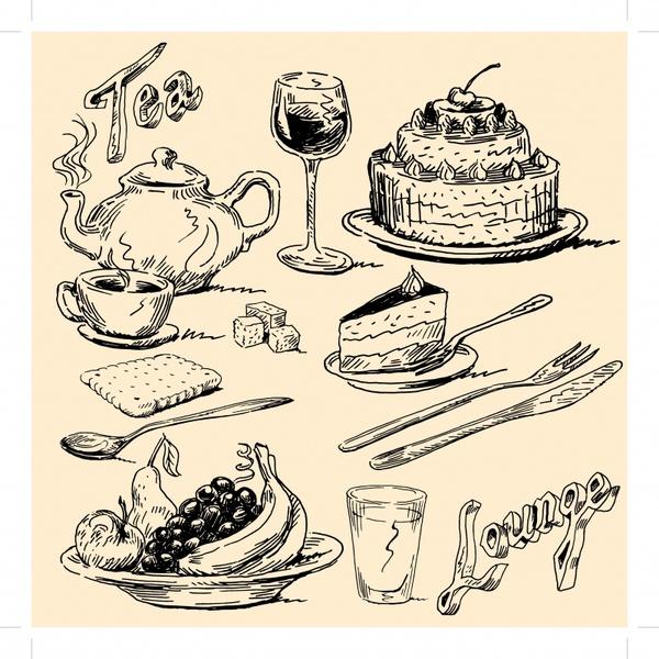 meal design elements retro black white handdrawn sketch