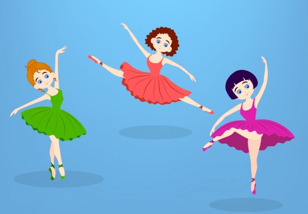 female ballerina icons colored cartoon style various gestures