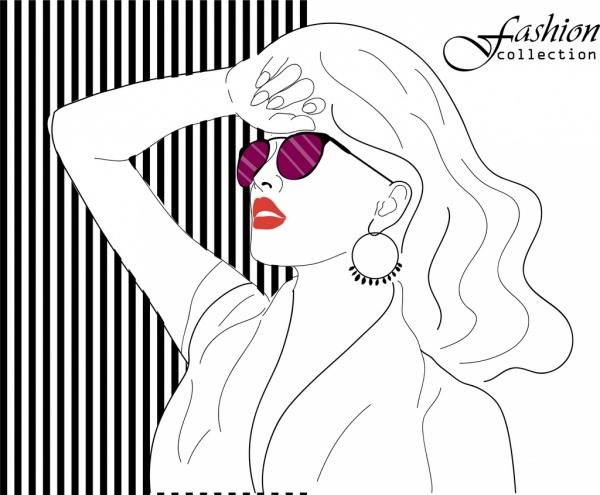 female fashion background beautiful lady icon handdrawn sketch