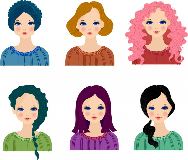 female hairstyle collection avatar icons colored cartoon design free