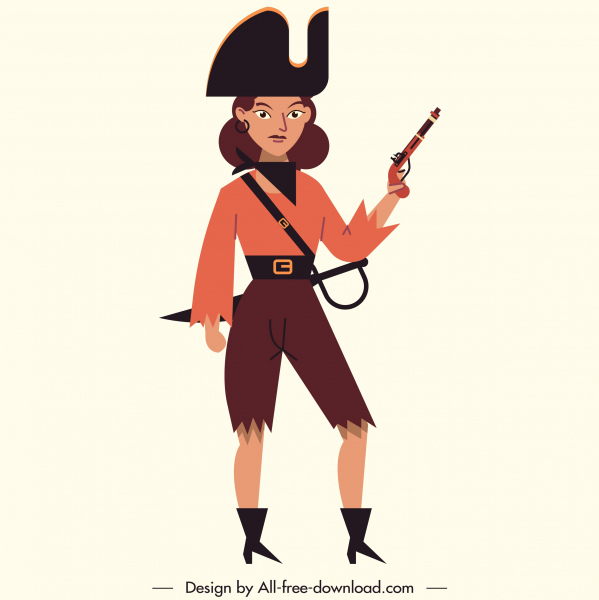 female pirate icon classic armed costume cartoon character