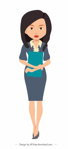 female secretary icon cartoon character sketch