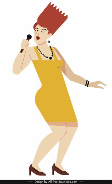 female singer icon stylish sketch colored cartoon sketch