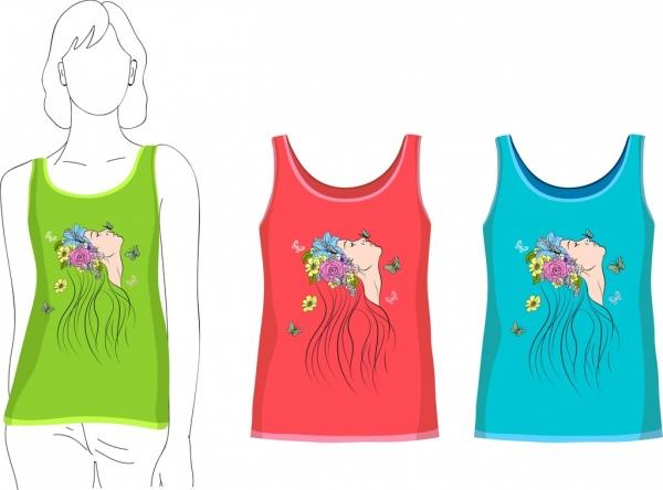 female tshirt templates woman face sketch