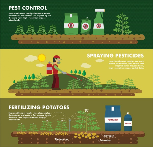 fertilizer banners design with plant and products