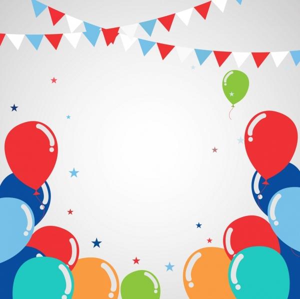 festival background colorful balloon ribbon decoration