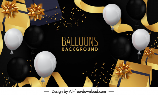 festive background template dynamic balloon gifts ribbon 3d