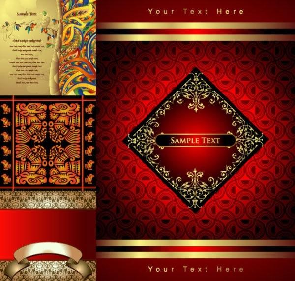 decorative background sets colored retro ethnic design
