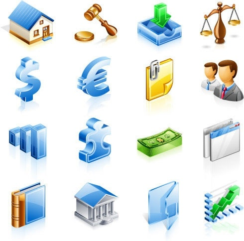 finance icons collection modern colored 3d design