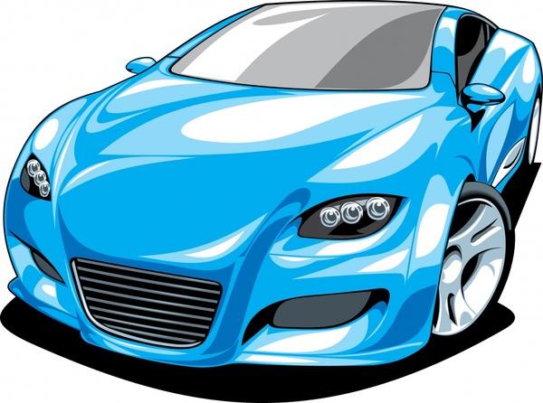 sports car icon shiny blue 3d sketch