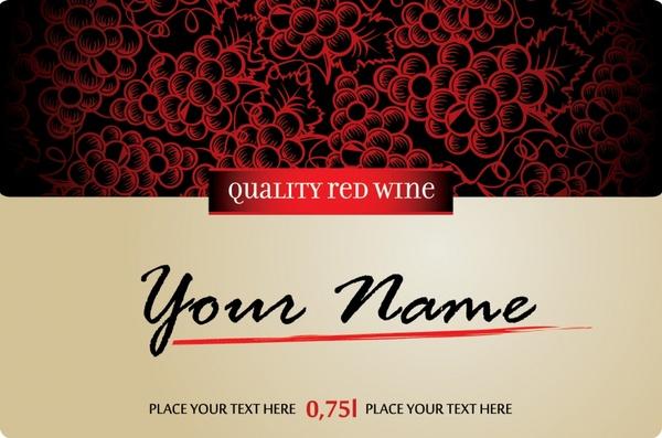 premium wine label template elegant contrast grapes decor