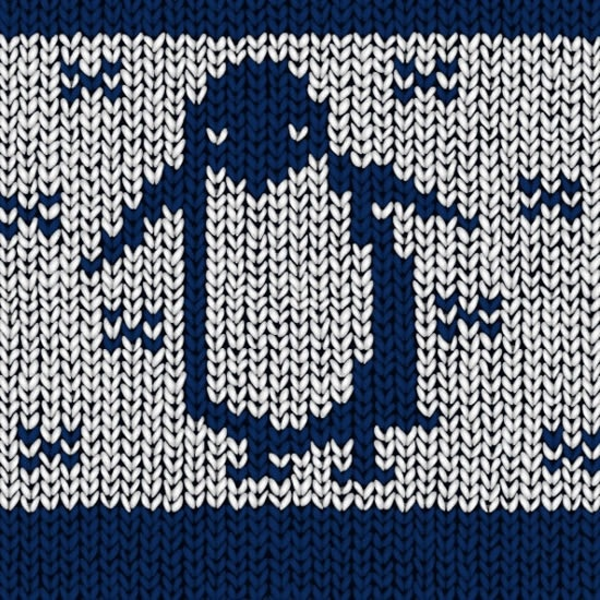 woolen pattern template penguin icon blue white decor