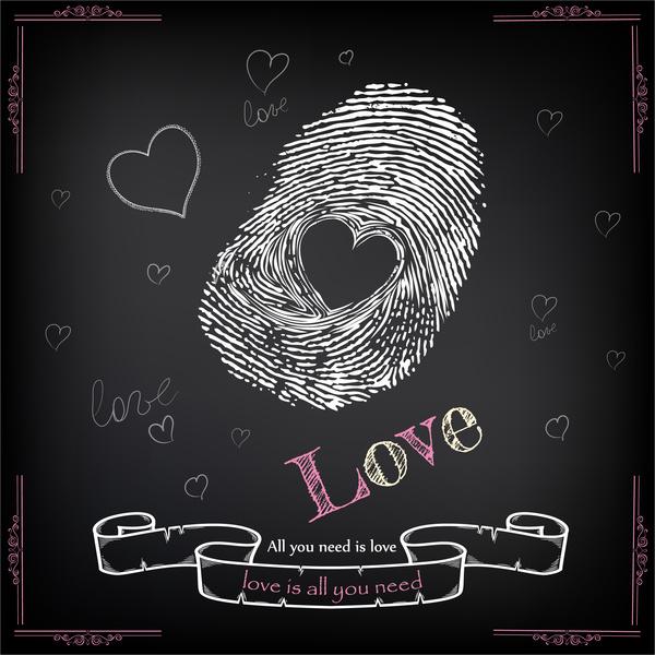 finger print love heart