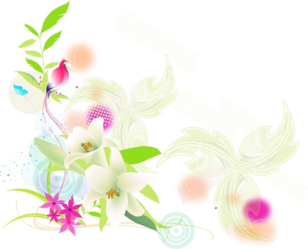 spring background colorful bird and flowers design