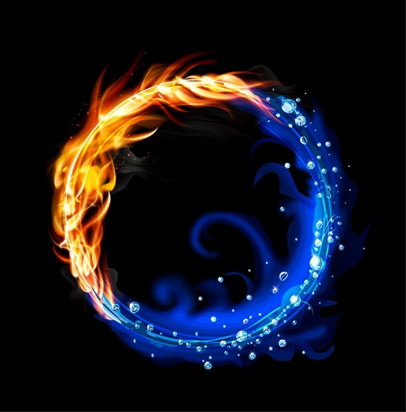 Lovely Fire And Water Ring Free Vector 15.57MB