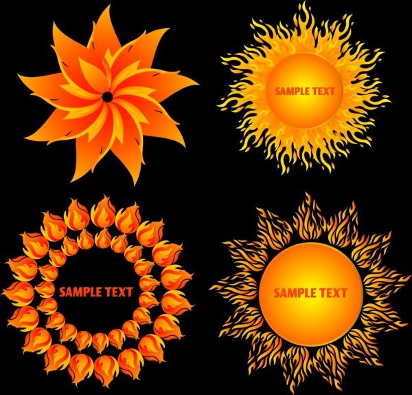 fire design elements various yellow symbols